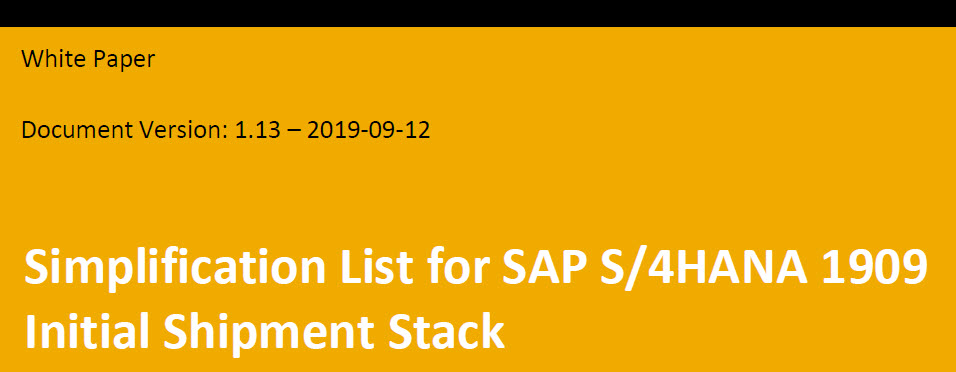 SAP S/4 HANA Release 1909