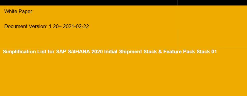 Simplification List for SAP S/4HANA 2020